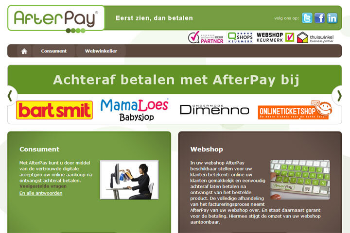 AfterPay, tennisnet,  GPredictive, Linko,  Cultuzz