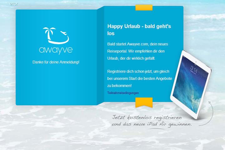 awayve will Onlinern den passenden Urlaub empfehlen