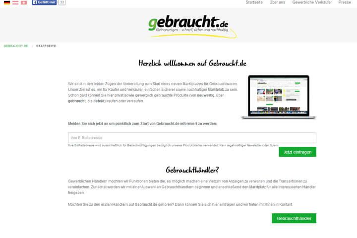 Gebraucht.de bietet Marktplatz für gebrauchte Produkte