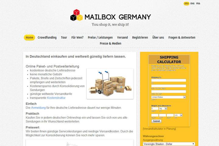 Mit Mailbox Germany weltweit günstig liefern lassen