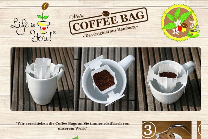Bei Coffee Bags kommt der Kaffee direkt aus dem Beutel