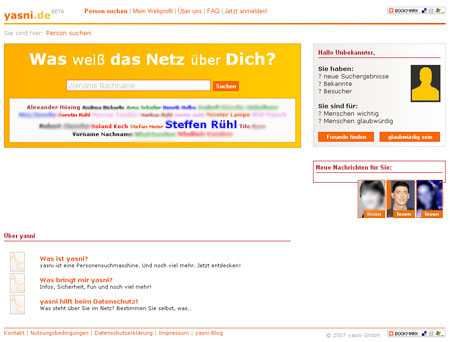 yasni.de findet Infos zu Namen