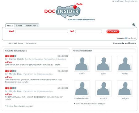 DocInsider bewertet Ärzte