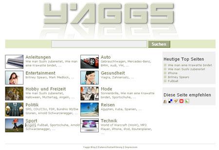 Yaggs liefert Suchergebnisse