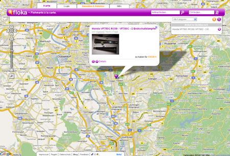 Bei Floka.de kommen Kleinanzeigen auf eine Landkarte