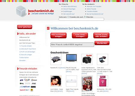 Screenshot beschenkmich.de