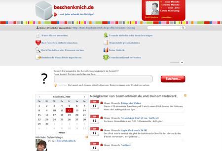 Erster Blick auf das neue beschenkmich.de