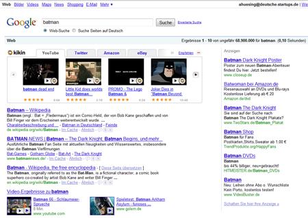 kikin motzt Google auf