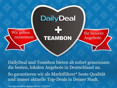 Groupon-Fieber: DailyDeal schluckt Mitbewerber Teambon