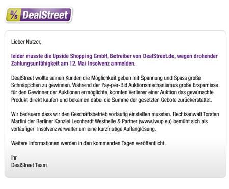 Insolvenz-Report: Bei Dealstreet bleiben 154.530 bezahlte Gebote – rund 77.000 Euro – offen