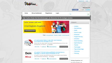 Bei Yoofive bieten Menschen Mini-Dienstleistungen an