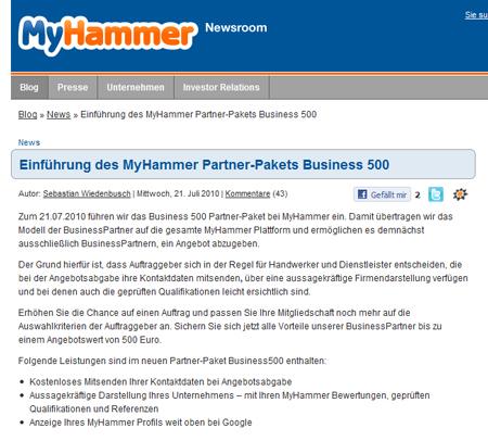 MyHammer bittet alle Handwerker zur Kasse – Nutzer laufen Sturm