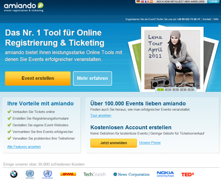 Dreierschlag: amiando hübscht sich auf, führt ein Mail-Tool ein und ändert sein Geschäftsmodell