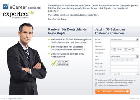 Auf Wiedersehen, eCareer – Experteer sammelt Nutzer auf