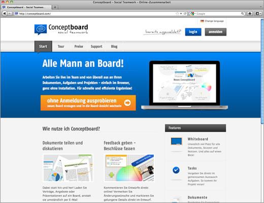 Conceptboard verlagert das Whiteboard ins Internet