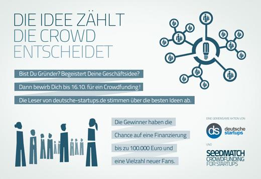Die Idee zählt – Die Crowd entscheidet: deutsche-startups.de und Seedmatch suchen Geschäftsideen, die begeistern