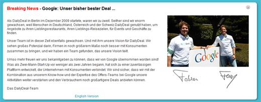 DailyDeal/Google-Übernahme: US-Gigant zahlte 130 Millionen Euro für den deutschen Coupondienst