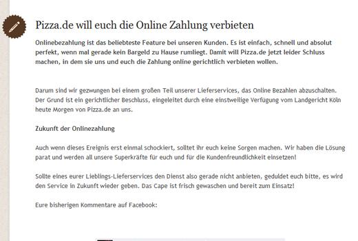 Pizza.de gegen Lieferheld! Streitpunkt: Onlinebezahlung