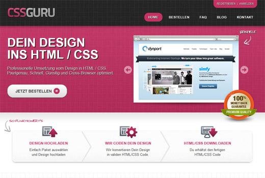 CSSGURU liefert Website-Code nach eigenem Design