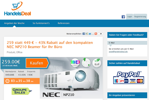 Groupon für Unternehmen: Handelsdeal bietet b2b-Rabattaktionen