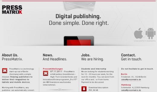 PressMatrix hievt Magazine aufs Tablet – HTGF unterstützt das Start-up
