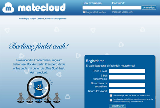 Sich online mit Matecloud verabreden und offline treffen