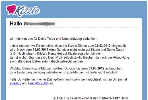 Offline! Zoosk-Kopie Kizzle verabschiedet sich Ende März