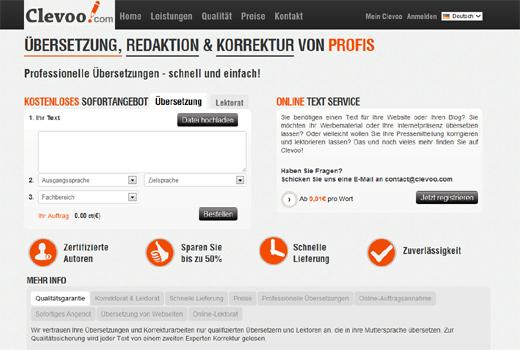 Clevoo bietet wie tolingo Übersetzungen an – aber auch Lektorats- und Korrekturdienste