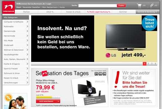 Fundstück: neckermann.de – Insolvent! Na und?