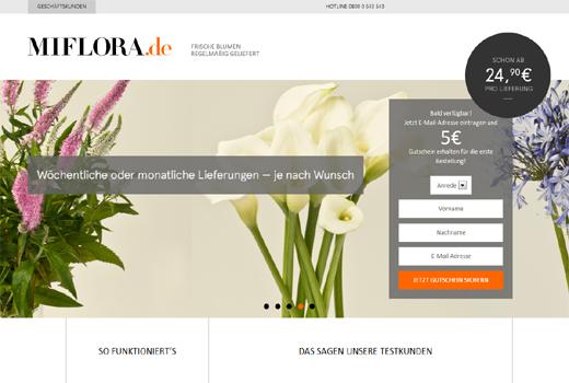 Miflora.de liefert Blumen im Abo – Venture Stars kopiert H.Bloom