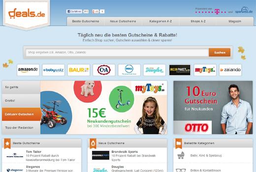 Gutscheine ohne Ende: Sparwelt.de und T-Online starten deals.de