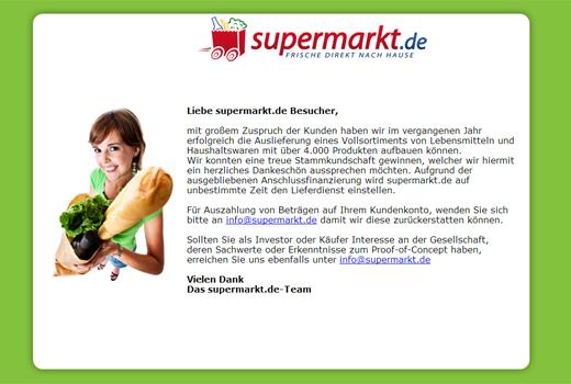 """Supermarkt.de schließt auf """"unbestimmte Zeit"""""""