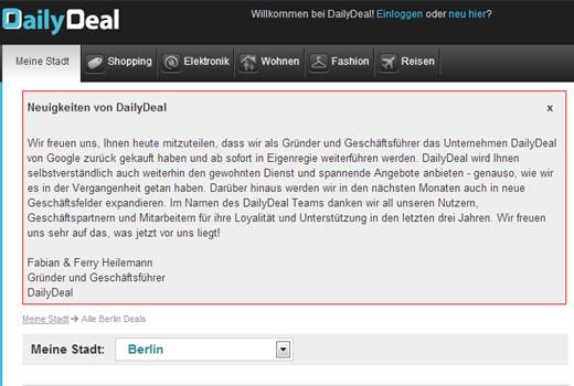 Heilemann-Brüder kaufen DailyDeal von Google zurück