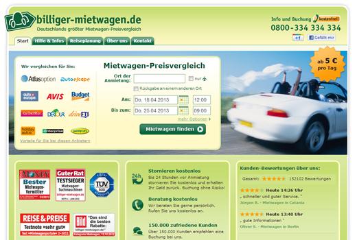 5 neue Deals: billiger-mietwagen.de, LuckyRoyals, twigspot, Wunschfutter, Clipvilla