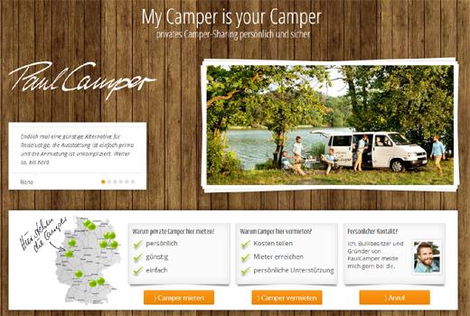 Sharing Economy trifft Campingplatz: Bei PaulCamper Camper mieten und vermieten