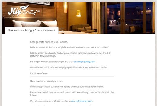 Hipaway reist nicht mehr – Hotelvermittler geht offline
