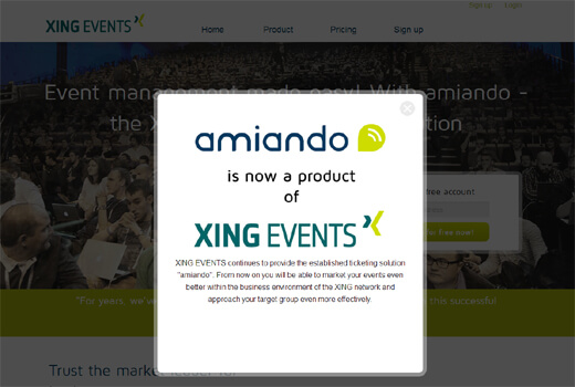 Arrivederci: Aus amiando wird Xing Events