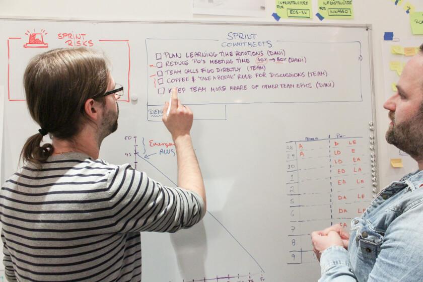 Digitale Leute - Sebastian Hoop - CollectAI - Sebastian lässt sich von einem Kollegen etwas am Whiteboard erklären.