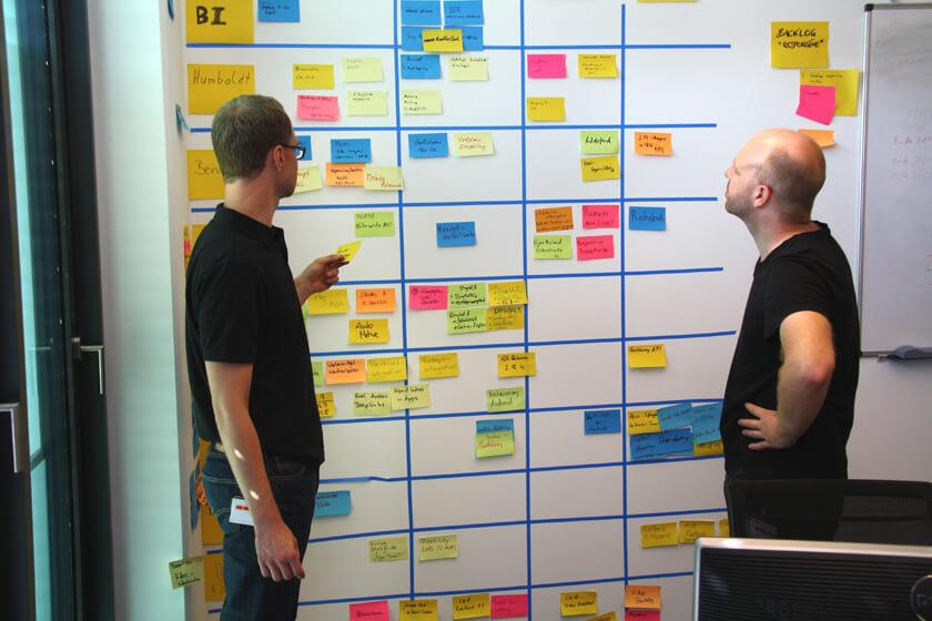 Digitale Leute - Hendrik Neumann - Chefkoch - gemeinsame Arbeit an einer Wand