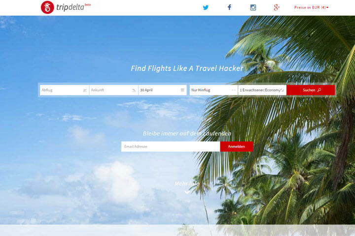 Mit Tripdelta günstigere Flüge finden