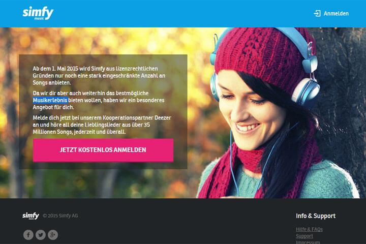 Simfy will, dass seine Nutzer zu Deezer wechseln